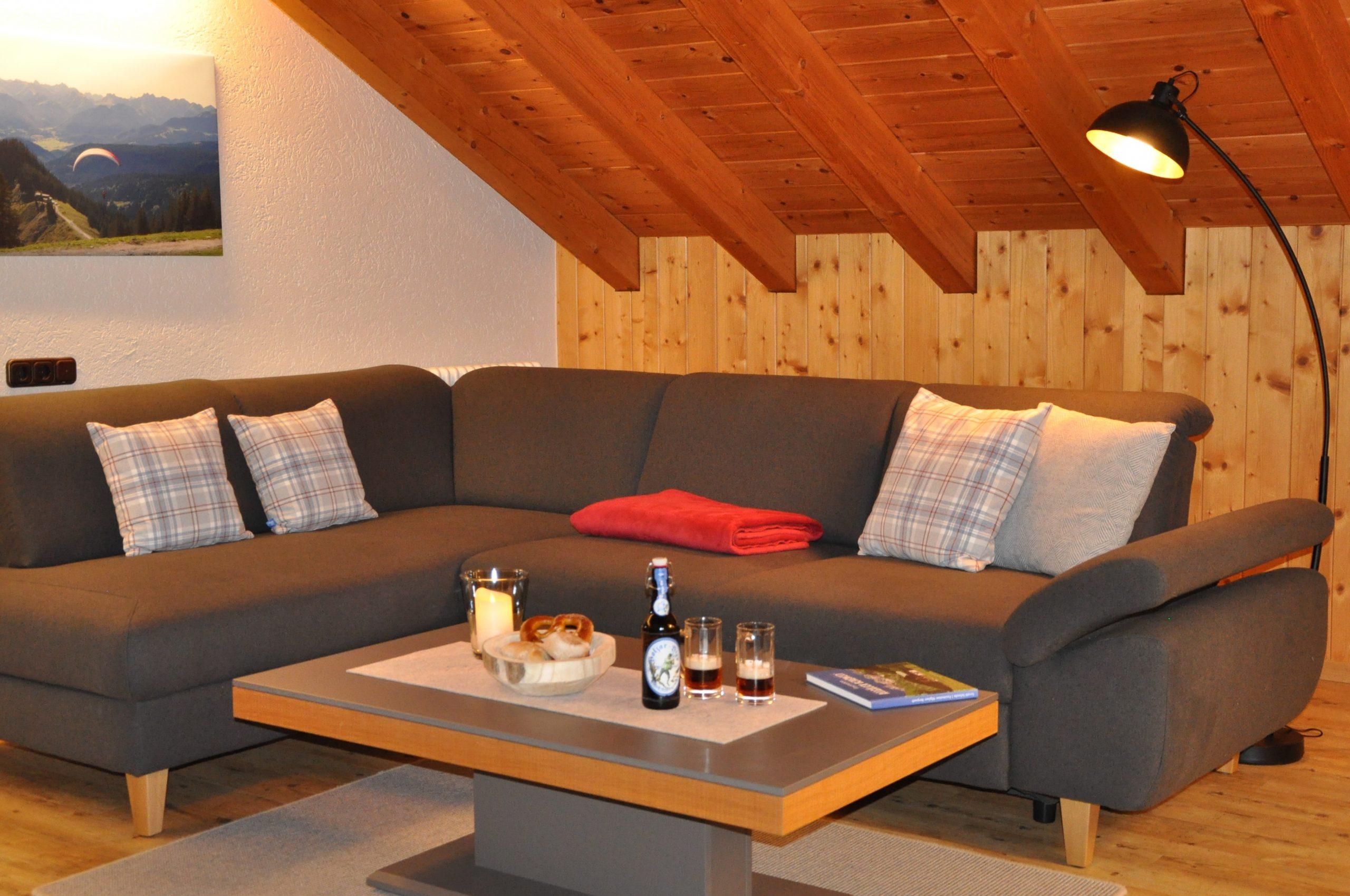 Ferienhaus Sauter Oberdorf Obermaiselstein - Wohlfühl Wohnzimmer in der Ferienwohnung Wannenkopf